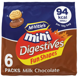 McVitie's Mini Milk Chocolate Digestives Fun Shapes 6 x 19g