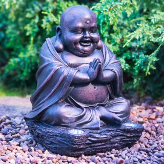 Happy Buddha with Solar Light