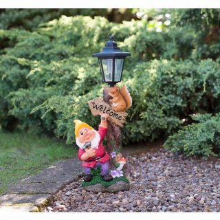 Garden Gnome with Solar Lamp Post - Yellow