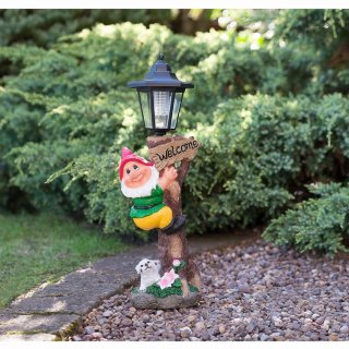 Garden Gnome with Solar Lamp Post - Red