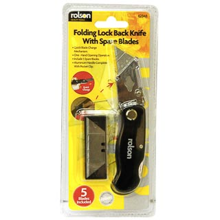 Rolson Folding Lock Back Knife with Spare Blades