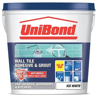 UniBond Wall Tile Adhesive and Grout Triple Protect - White 1.28kg