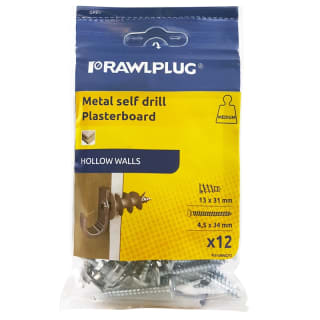 Rawlplug Metal Self Drive Plug & Screw 12pk
