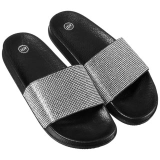 Ladies Jeweled Sliders - Black