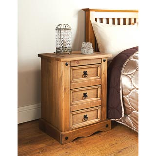 Rio 3 Drawer Bedside Table