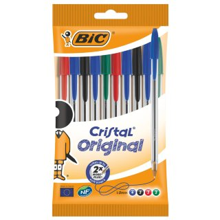 BIC Cristal Original Ball Point Pens 10pk - Assorted