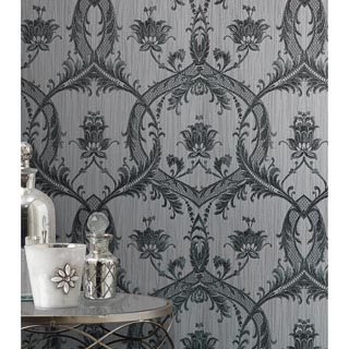 Milano Glitter Damask Wallpaper - Silver
