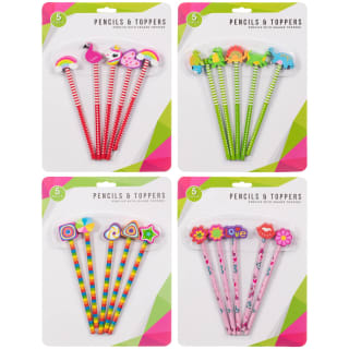 Pencil & Eraser Toppers 5pk