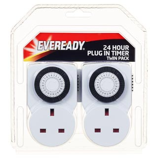 Eveready 24hr Plug-In Timer Sockets 2pk