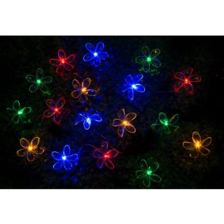 24 Solar LED Flower String Lights - Multicolour