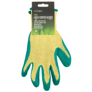 Rolson Latex Coated Gloves - Green