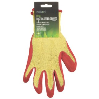 Rolson Latex Coated Gloves - Red