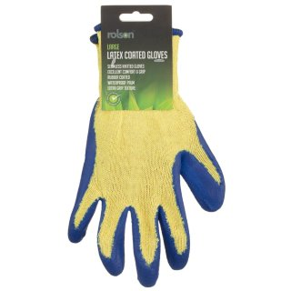 Rolson Latex Coated Gloves - Blue