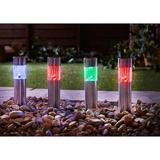 Stainless Steel Mini Tube Post Lights 6pk - Colour Changing