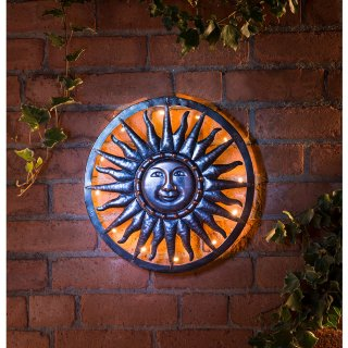 Solar Sun Metal Wall Art Garden Solar Lighting B M