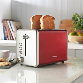 Goodmans 2-Slice Stainless Steel Toaster - Red