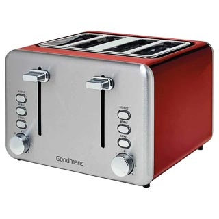Goodmans 4 Slice Toaster - Red