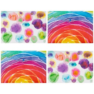 A4 Fashion Popper Wallets 4pk - Watercolour