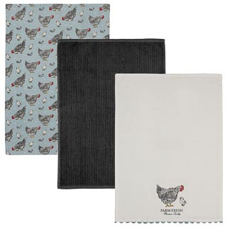 Karina Bailey Traditional Tea Towels 3pk - Chickens