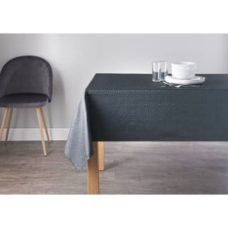 Geo Jacquard Tablecloth 132 x 178cm - Charcoal