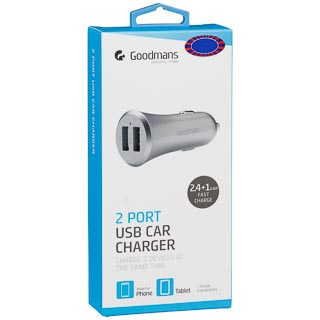 Goodmans 2 Port USB Car Charger