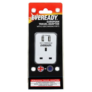 Eveready European Travel Adaptor with USB Ports