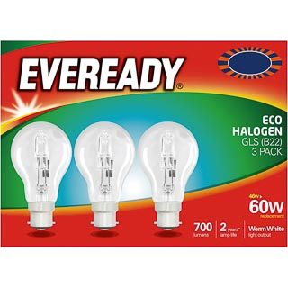 Eveready 60W B22 Eco Halogen Bulb 3pk