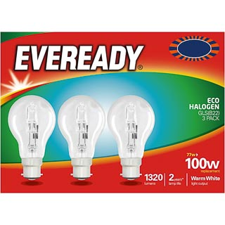 Eveready 100W B22 Eco Halogen Bulb 3pk