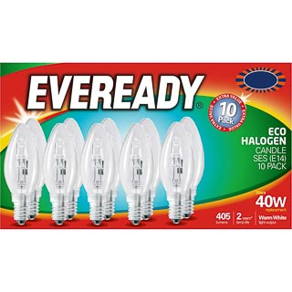 Eveready 40W E14 Candle SES Bulb 10pk