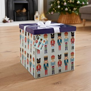 XL Christmas Gift Box with Bow & Tag - Nutcracker