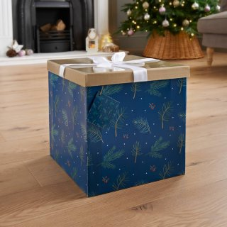 XL Christmas Gift Box with Bow & Tag - Navy