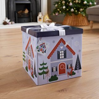 XL Christmas Gift Box with Bow & Tag - House