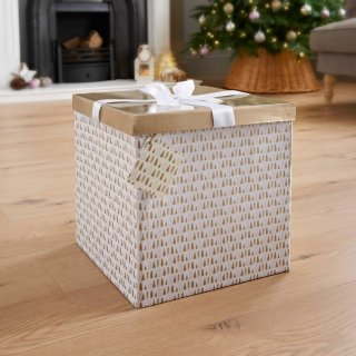 XL Christmas Gift Box with Bow & Tag - Gold Trees