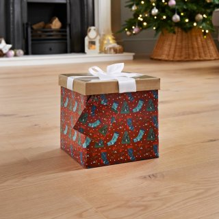 Medium Christmas Gift Box with Bow & Tag - Stockings
