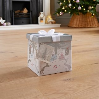 Medium Christmas Gift Box with Bow & Tag - Silver