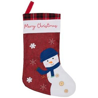 Rustic Christmas Character Stocking - Snowman