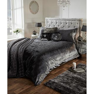 Versailles Full Velvet Face Charcoal Duvet Set - Double