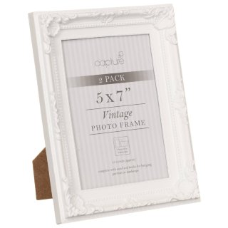 "Vintage Photo Frames 5 x 7"" 2pk - White"