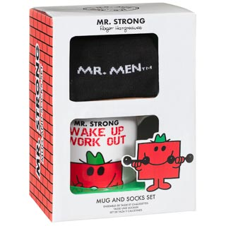 Mr Men Mug & Sock Set - Mr Strong