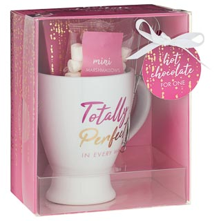 Mug, Hot Chocolate, Mini Marshmallows & Whisk Set - Totally Perfect