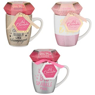 Glitter Mug Gift Set with Marshmallows - Bubbly Like Champagne