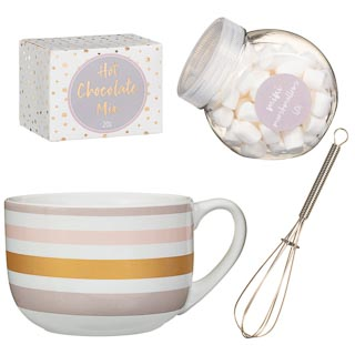 Giant Hot Chocolate Mug Set - Pink & Gold