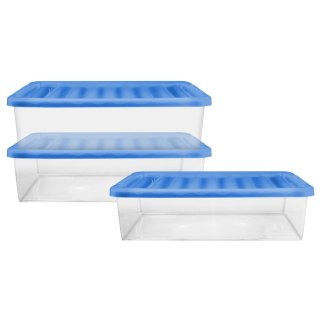 Underbed Storage Box with Lid 32L 3pk - Blue
