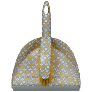 Printed Dustpan & Brush - Yellow Geo