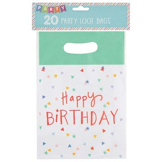 Kids Party Loot Bags 20pk - Happy Birthday