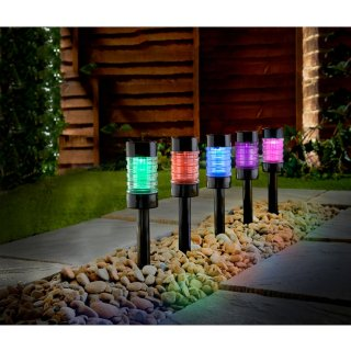 Solar Powered Nickel Post Lights 5pk - Colour Changing