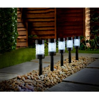 Solar Powered Nickel Post Lights 5pk - White