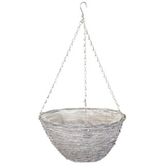 Grey Rattan Round Hanging Basket
