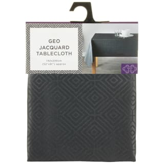 Geo Jacquard Tablecloth 132 x 230cm - Charcoal