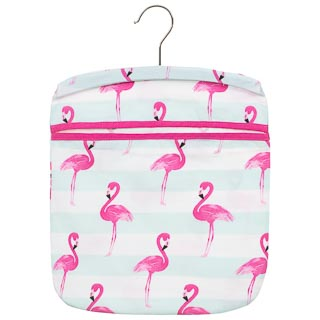 Cotton Printed Peg Bag - Flamingo